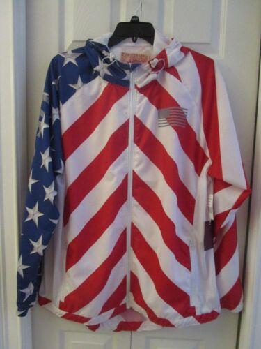NWT Brooklyn Cloth Big /& Tall USA Flag Hoodie Windbreaker Jacket Red White Blue