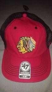 buy online 38c90 88cef Image is loading NHL-CHICAGO-BLACKHAWKS-039-47-CLOSER-STRETCH-FIT-