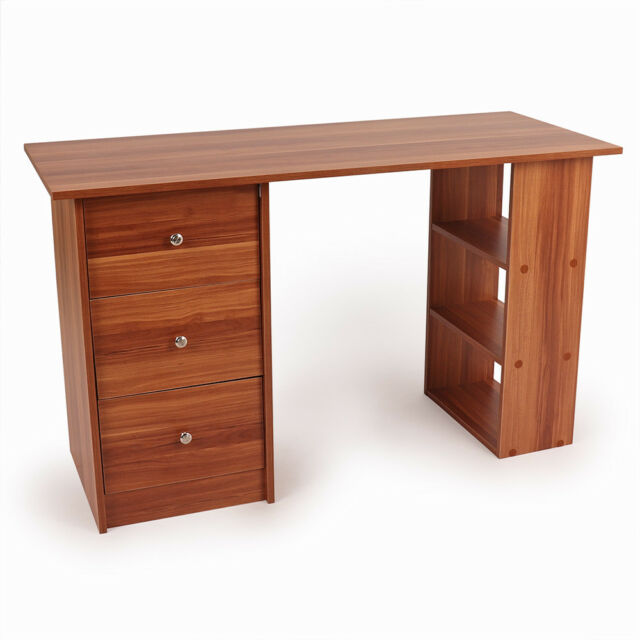 Wido White Basic Computer Desk Office Study 3 Drawersshelves Pc