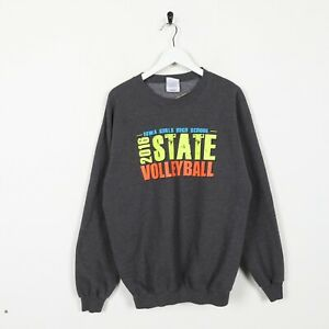 Vintage-USA-College-2016-Staat-Volleyball-Big-Logo-Sweatshirt-grau-Medium-M