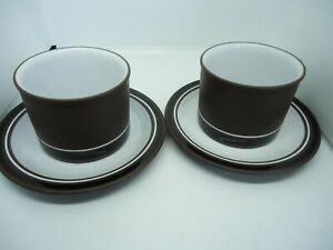 Hornsea-Pottery-Contrast-Tea-Cups-amp-Saucers-x-2Brown-Vintage-Retro-1970s-British