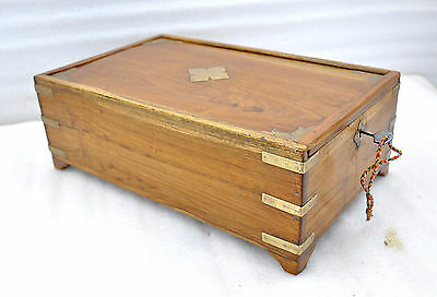 1900s Indian Antique Hand Crafted Wooden Brass Fitted Cash Chest Money Box