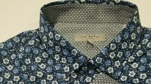 Ted Baker Endurance Dark Blue Floral Flip Cuff Long Sleeve Shirt Men Sz 3 NWOT