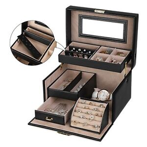 Jeweler-Case-Jewelry-Rectangular-with-Mirror-Drawers-Earrings-Rings-Necklaces
