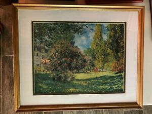 Framed-Print-The-Parc-Monceau-Claude-Monet-French-Art-Matted-Impressionism