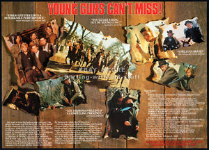YOUNG-GUNS-Orig-1989-4pg-Trade-print-AD-promo-CHARLIE-SHEEN-KIEFER-SUTHERLAND