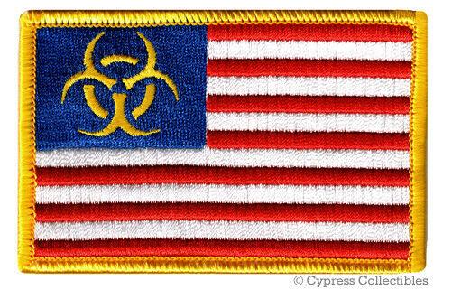Zombie Apocalypse Usa Flag Patch Iron On Biohazard Symbol American