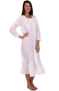 NWT-Alexander-Del-Rossa-Women-039-s-100-Cotton-Victorian-3-4-Sleeve-Nightgown-SM
