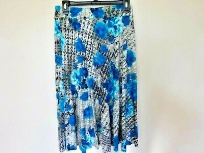 Covington A-line Flare Knit Skirt Below Knee Elastic Waist Blue/gray Floral L Discounts Price Women's Clothing