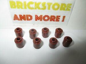 Lego 8x Brique Brick Round Cone 1x1 4589 Reddish Brown//Marron//Braun
