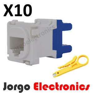 CAT6-RJ45-CLIPSAL-COMPATIBLE-Data-Inserts-Jacks-X-10-amp-Punch-Down-Tool