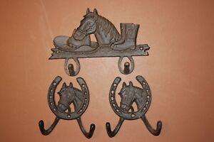... 3 Vintage Look Horse Theme Bath Towel Hooks