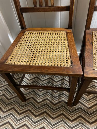 Pair Of Arts And Crafts Oak Chairs Rattan Antique