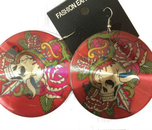 dangle earrings bright skull design disc drop earrings colour choice new 2.5 cms