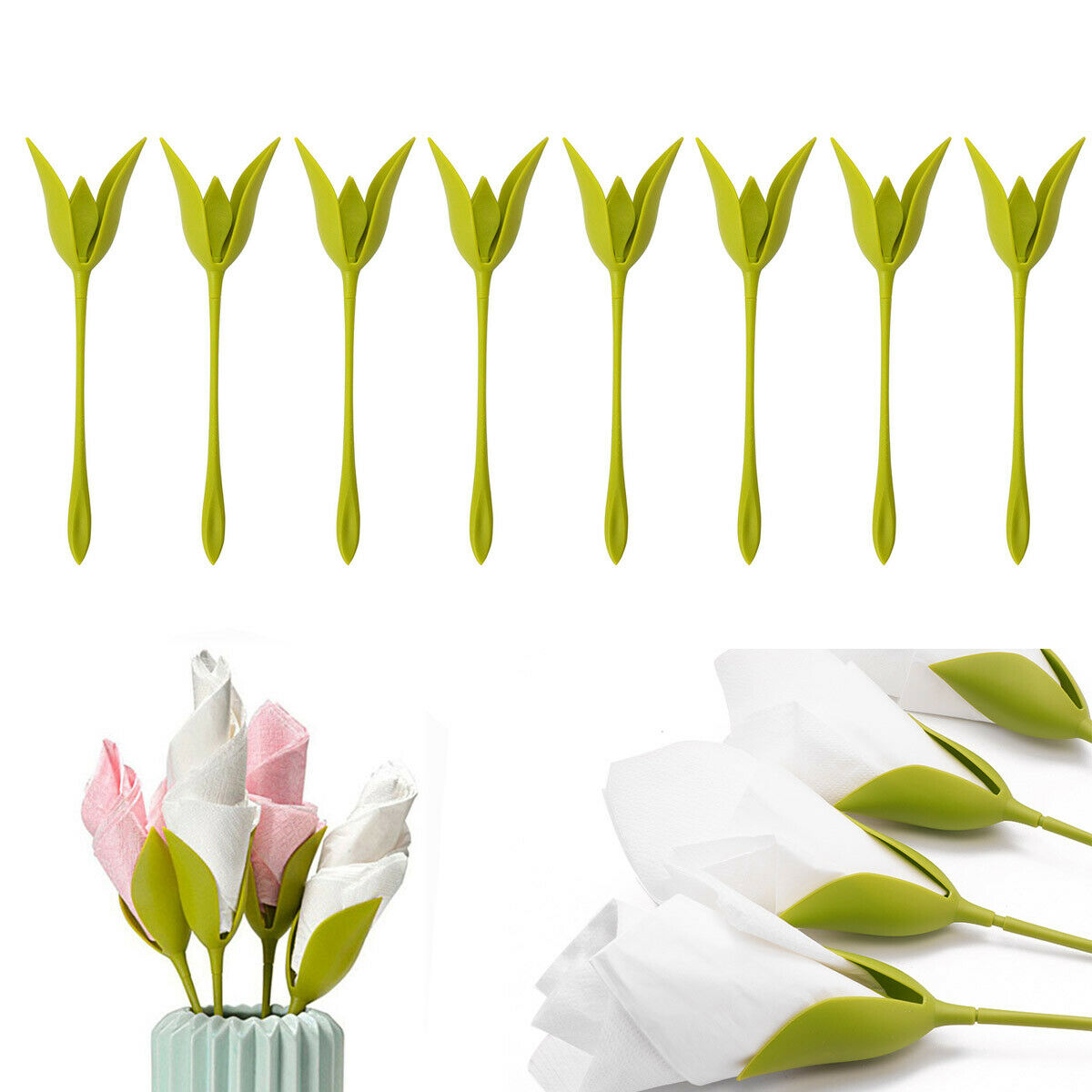 18/60/90 PCS Bloom Napkin Holders Table Green Twist Flower B