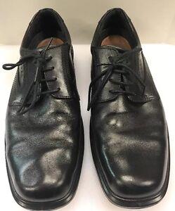 Ecco-Plain-Toe-Black-Oxford-Dress-Shoes-Light-Sole-Shock-Men-039-s-10-10-5-US-44-EU