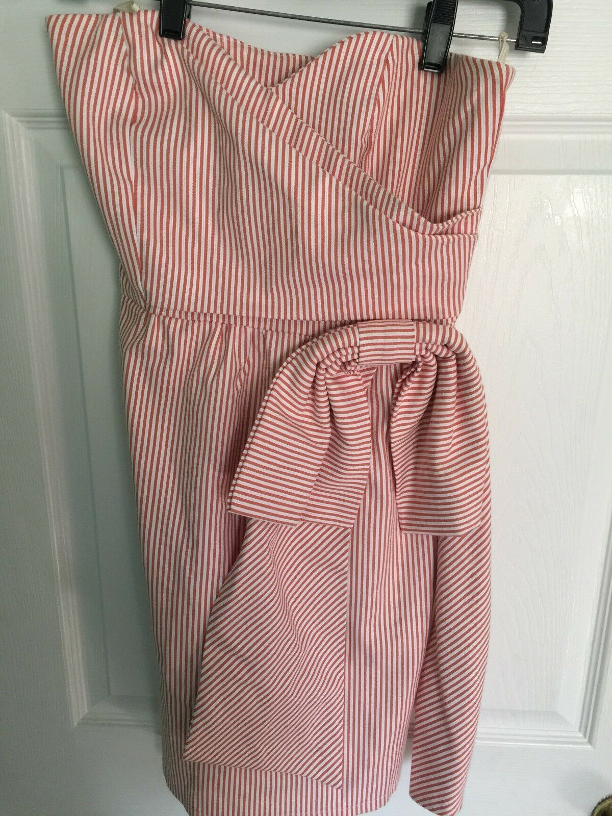 Judith March Red White Stripe Sweetheart Strapless Dress Size Small EXCELLENT