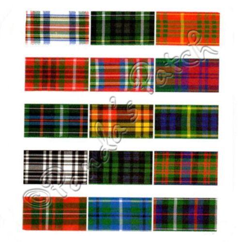 Berisfords 16mm Polyester Tartan Ribbon Choice of 17 Colours