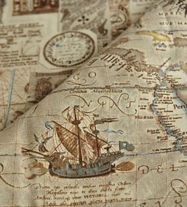 Diy 3a6 8988 Vintage Nautical Map Cotton And Linen Fabric
