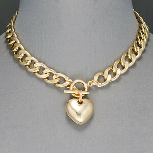 Gold cuban link chain choker style heart shape pendant necklace ebay image is loading gold cuban link chain choker style heart shape aloadofball Image collections