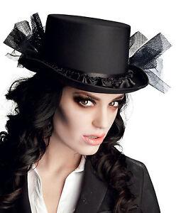 assez bon marché mode la plus désirable vente usa en ligne Détails sur Femmes Victorien Chapeau Haut de Forme Noir Burlesque  Équitation Halloween