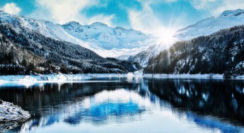 Sunset Lake Mountain Snow Winter Environment Nature Landscape  HD POSTER