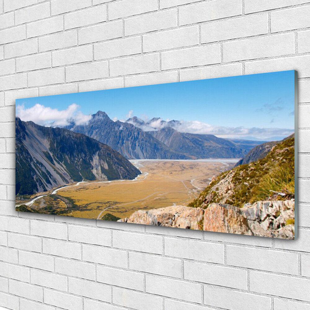 Impression sur verre Image tableaux 125x50 Paysage Montagnes Vallée
