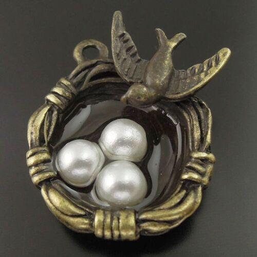 36381 Antique Bronze Vintage Alloy oiseau nid Olivet œuf Charms Pendentif 10PCS