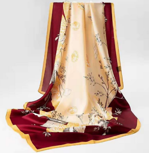 "100/% Silk 43/"" large Square satin Scarf Women Shawl Wrap beige yellow red JX5-19"