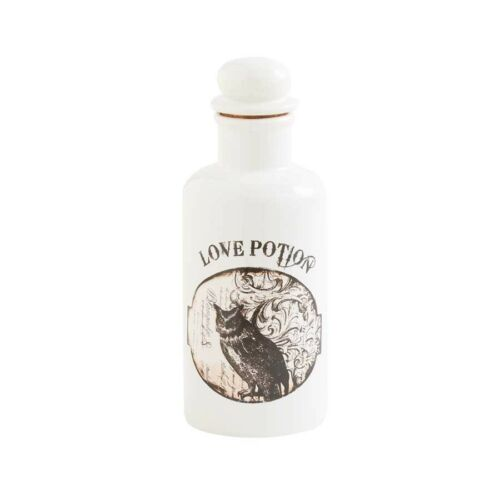 "40597B 8"" White Bottle with Owl Halloween Witch's Spell Love Potion Decoration"