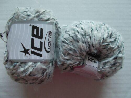 white grey shades Ice Yarns Fattori Mohair yarn 93 yds ea lot of 2
