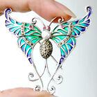 #P446 Pendentif Broche Papillon Argent Massif 925 Perle Rubis & Email