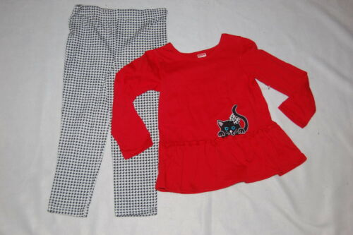 Toddler Girls Outfit RED RUFFLE TOP Black White Houndstooth 12 18 24 MO 2T 3T 4T