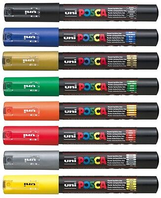 Uni-Ball Uniball POSCA PC-1M Extra Fine Marker Pens THE SET OF 8 BEST SELLERS