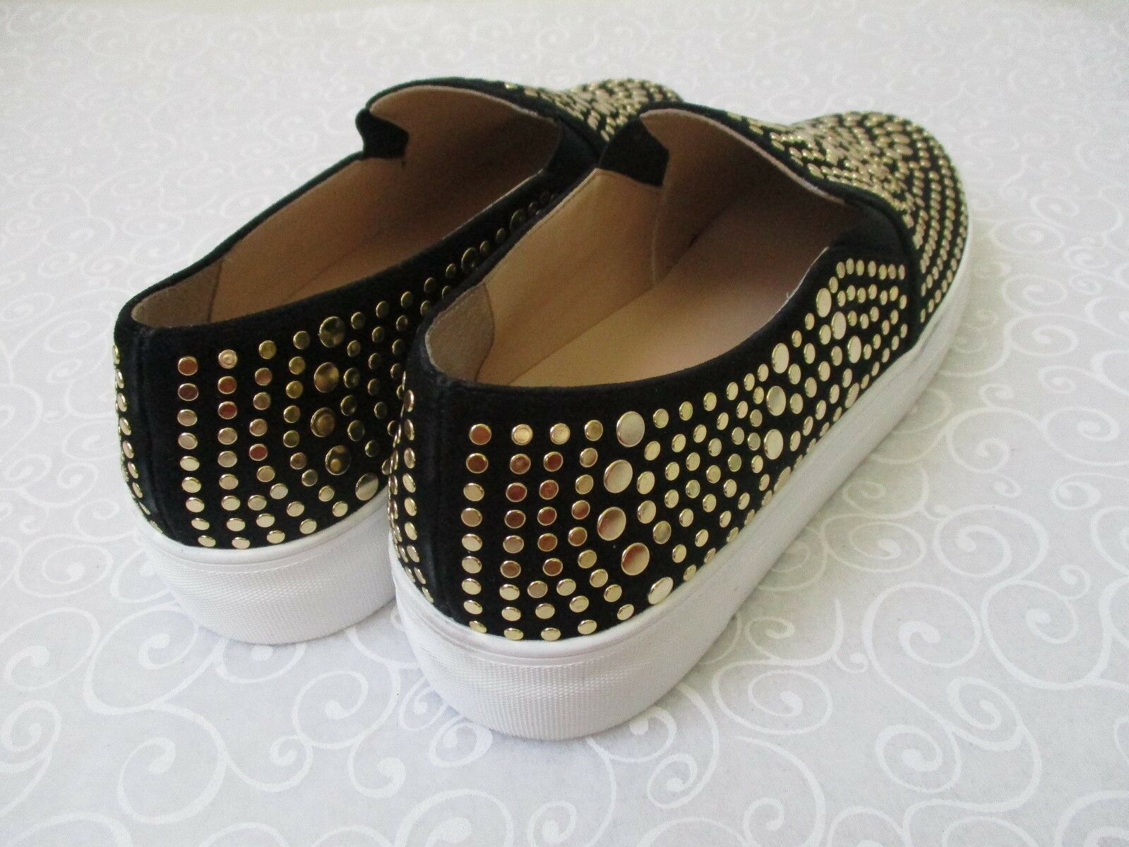 VINCE CAMUTO KINDRA FOXY BLACK/GOLD SILKY LEATHER LOAFERS LOAFERS LOAFERS SIZE 8 1/2 M - NEW a0adbb