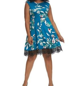 Donna-Ricco-Lace-Hem-Jersey-Floral-Fit-And-Flare-Dress-Size-24W