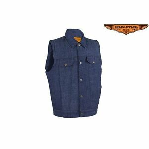 Men/'s Black Denim Single Panel Concealment Motorcycle Vest W// Biker Leather Vest