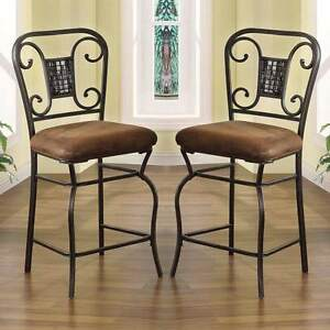 Tavio Set Of 2 Counter Height 24h Dining Chairs Stools Metal Frame