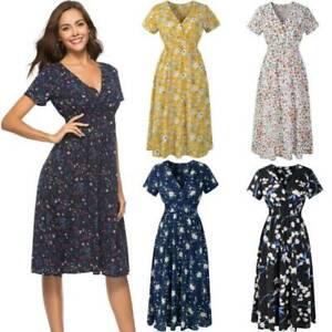 Women-Summer-Tunic-V-Neck-Short-Sleeve-Boho-Floral-Midi-Chiffon-Dress-Holiday