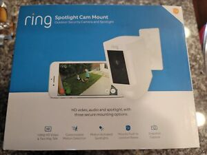 NEW Ring Spotlight Cam Mount White Hard wired 1080p Wi-Fi Security Camera Fast