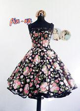 NEUE KOLLEKTION 50er Jahre Punkte Kleid Rockabilly Petticoat Blumen Tellerrock