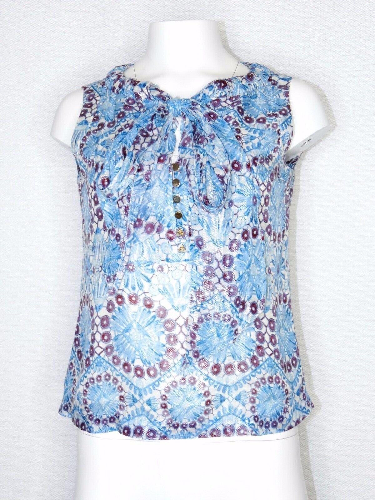Tory Burch Größe 2 Small Blouse Bahama Castilo Sleeveless Top Weiß Blau Daisy