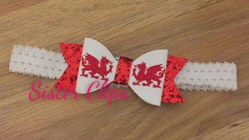 "Wales st davids welsh dragon glitter 4/"" bow hair baby soft head band"
