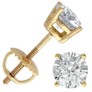 18K-YELLOW-GOLD-1-2-cttw-SOLITAIRE-VS2-SI1-G-H-DIAMOND-STUD-BASKET-SET-EARRINGS