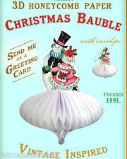 CHRISTMAS CARD CHRISTMAS TREE ORNAMENT BAUBLE Mr & Mrs Snowman Vintage