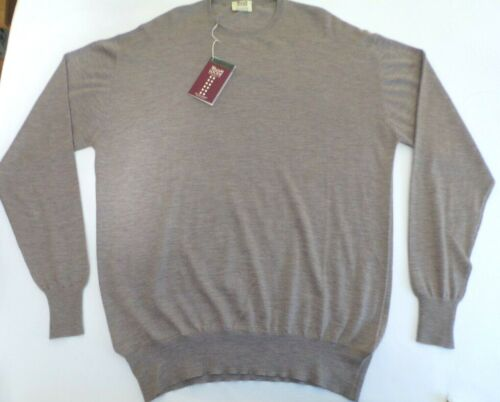 "William Lockie Crew neck 2 ply cashmere sweater jumper pullover top 48/"" brown"