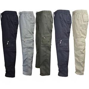 Men-Camo-Military-Elastic-Waist-Army-Cargo-Combat-Pocket-Trousers-Bottoms-Pants