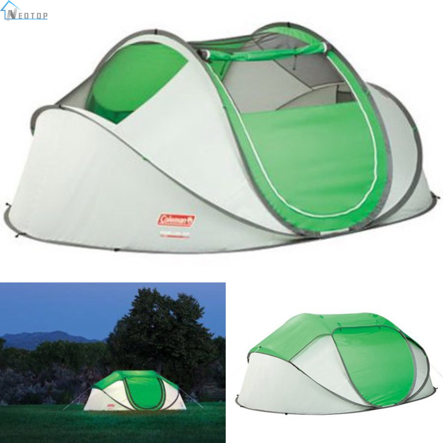 Coleman PopUp 4 Person Instant Tent Camping Outdoor Family Hiking Shelter New