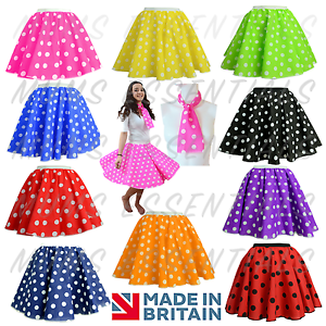 CHILDRENS-GIRLS-POLKA-DOT-ROCK-AND-ROLL-50s-60s-SKIRT-SCARF-FANCY-DRESS-COSTUME