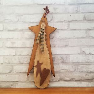 Folk Art Wooden SNOWMAN ANGEL Hanging Wall Decor Primitive Vintage